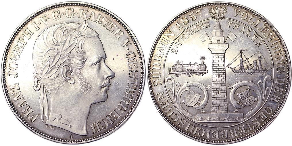 オーストリア 1857年2ターラー トリエステ鉄道開通記念銀貨 | PREMIUM ...