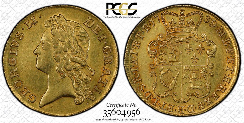 イギリス1739年ジョージ2世2ギニー金貨AU55 | PREMIUM GOLD COIN