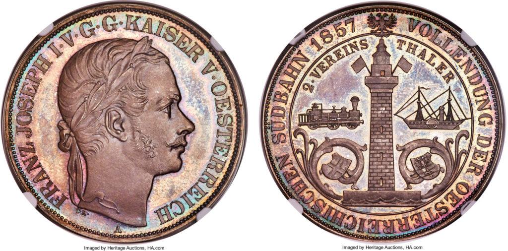 オーストリア1857年トリエステ鉄道2ターラー銀貨MS66PL | PREMIUM GOLD ...