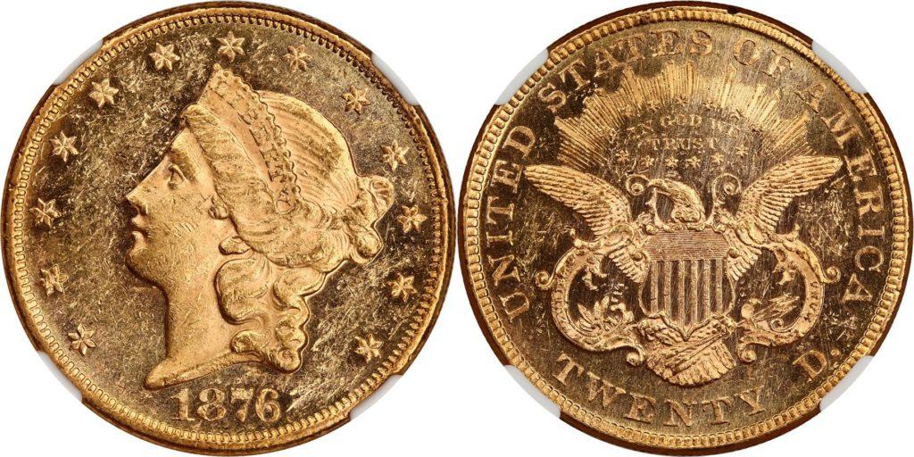 アメリカ1876年20ドル金貨NGC MS60PL | PREMIUM GOLD COIN